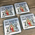 There is no place like Gnome for the Holidays Coasters Set of 4
