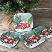 Vintage Red Truck Coasters Set of 4
