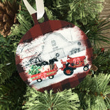 Christmas on the Farm Ornament Red Tractor