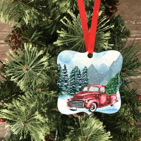 Vintage Red Truck Aluminum Ornament
