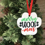 Merry Woof Mas Aluminum Photo Ornament