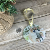 Personalized Christmas Glass Photo Ornament