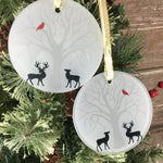 Cardinal & Deer Glass Christmas Ornament