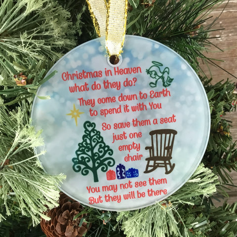 Christmas in Heaven Glass Christmas Ornament