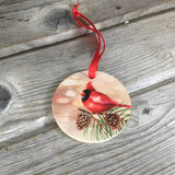 Cardinal Christmas Ornament Wood