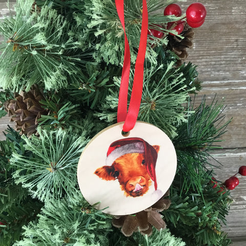 Highlander Cow Christmas Ornament Wood
