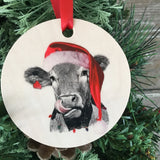 Cow Christmas Ornament Wood