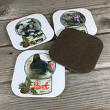 Personalized Snow Globe Christmas Coasters Set of 4