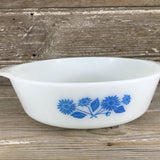 Vintage Anchor Hocking Fire King Blue Corn Flowers 2 Qt. Baking Dish