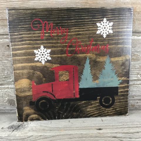 Red Truck Christmas Tree Sign
