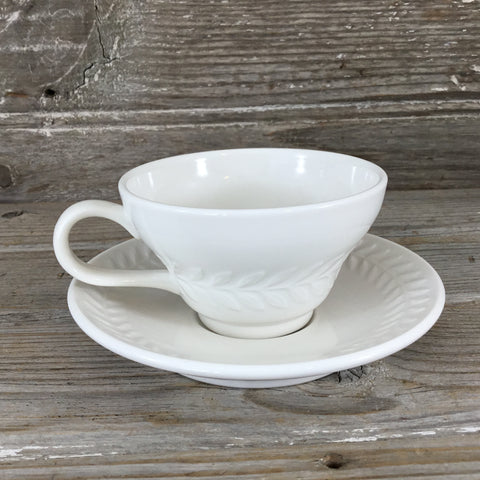 Syracuse China USA Restaurant Ware 6 oz White Coffee Cup & Saucer Laurel Band