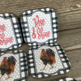 Rise and Shine Rooster Sunflower Rustic Farm Coasters Set of 6