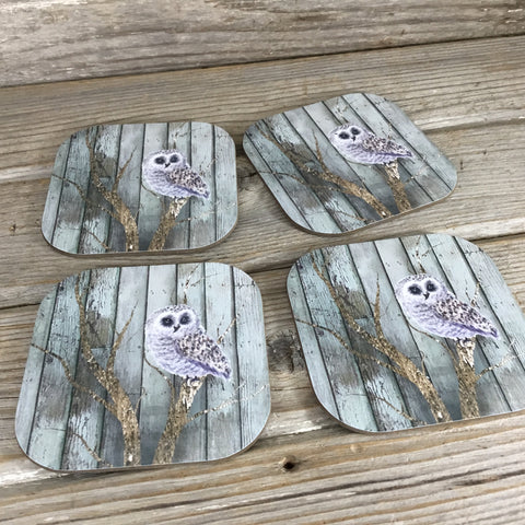 Owl Barn Wood Background Hardboard Coasters