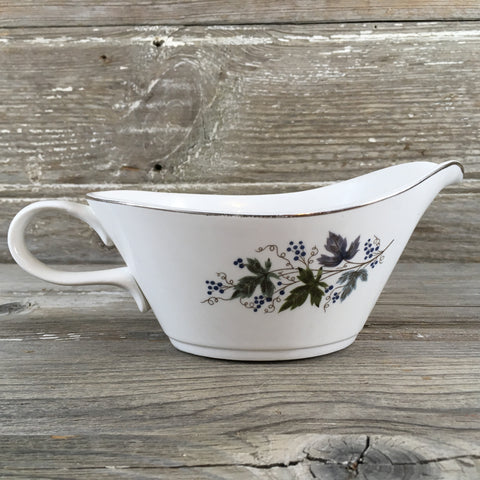 White Gravy Boat with Fall Leaves & Silver Trim