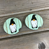 Gnomes Car Coasters Mint Green