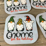 Gnome for the Holidays Hardboard Coasters Set of 4