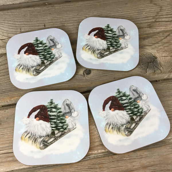 Winter Gnome Coasters Set of 4