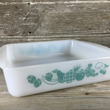 "Glasbake 8"" Square Ovenware Casserole J 2428 Blue Fruit"