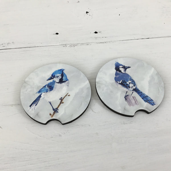Blue Jay Car Coasters Set of 2