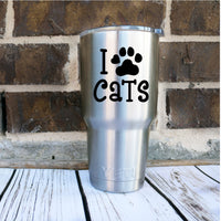 I love Cats Pawprint Decal