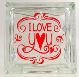 I Love You Glass Block Decal