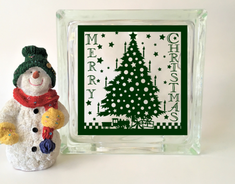Merry Christmas Tree Glass Block Vinyl Decal