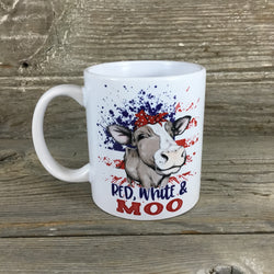 Red, White and Moo 11 oz Cow Mug