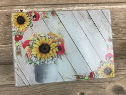 Farm Life Floral Glass Cutting Board