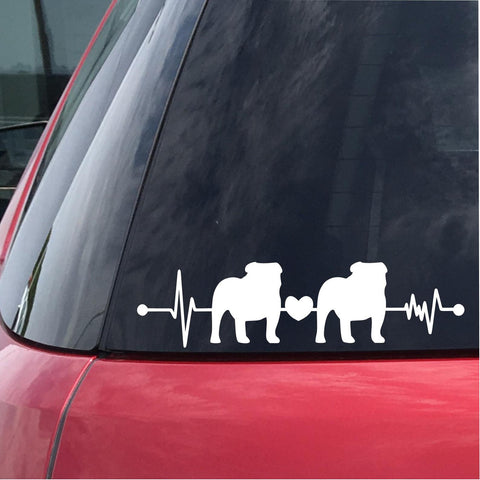Two Bulldogs Heartbeat Decal