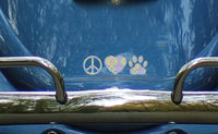 Peace Love and Paws Car Window Decal