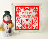 Merry Christmas Heart Glass Block Decal