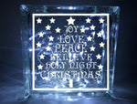Christmas Tree Words Glass Block Vinyl Decal