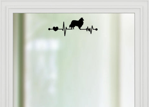 Collie Heartbeat Car Decal