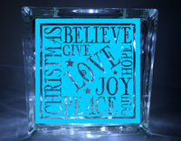 Christmas Words Glass Block Vinyl Decal