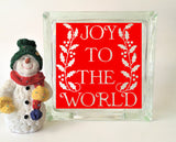 Joy To The World Glass Block Vinyl Decal
