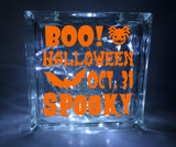 Boo Halloween Glass Block Decal