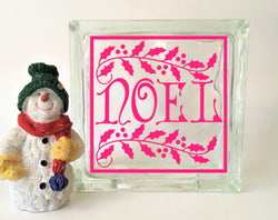 Noel Glass Block Vinyl Decal