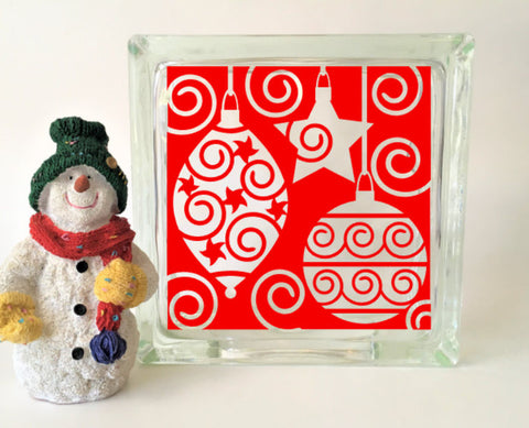 Holiday Baubles Glass Block Vinyl Decal
