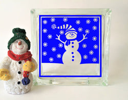 Snowman Glass Block Vinyl Decal