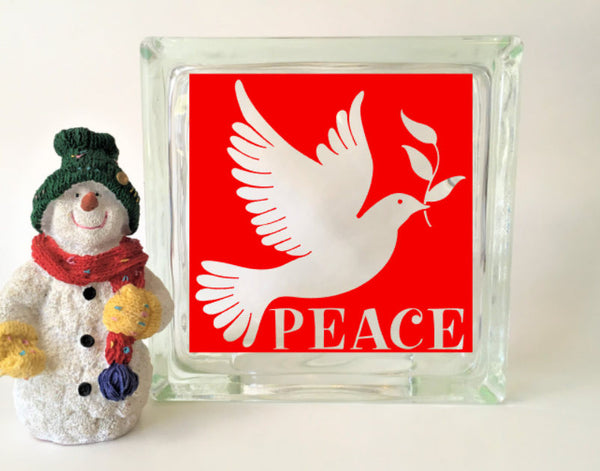 Dove of Peace Glass Block Vinyl Decal