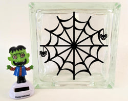 Spider Web Glass Block Decal