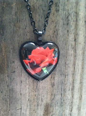 Red Rose Black Heart Necklace