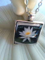 White Lotus Flower Necklace