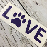 Love Dog Paw Car Window Decal