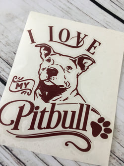 I Love My Pitbull Decal