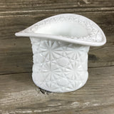 Milk Glass Daisy and Button Top Hat