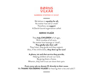 NIFTY Giving. We support BØRNS VILKÅR with every purchase.