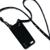 Crossbody black genuine leather phone case.