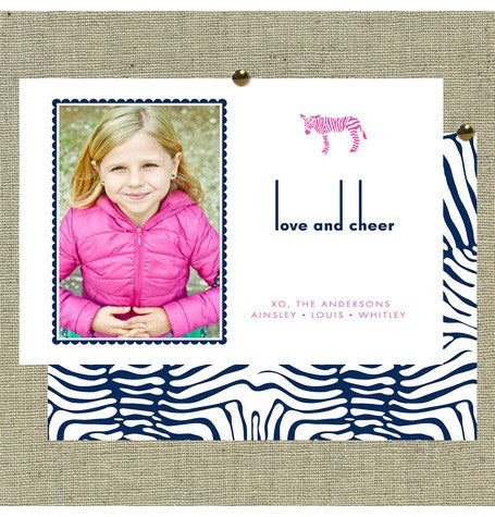 simple zebra print holiday card photo