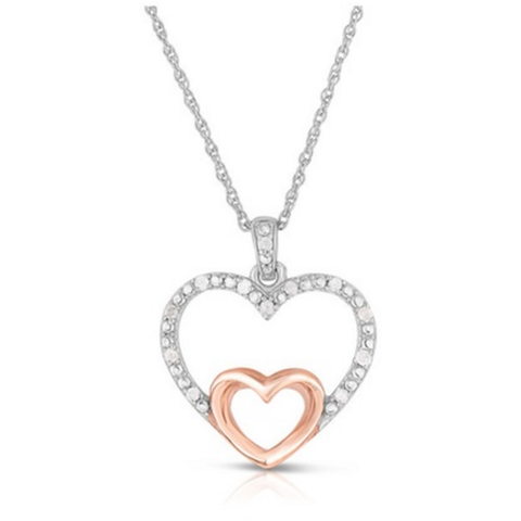 .10 CTTW Diamond and Rose Gold Necklace